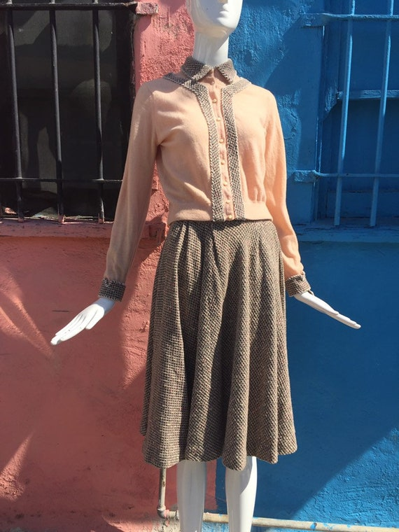 50's Pink and Grey Cardigan and Skirt Set