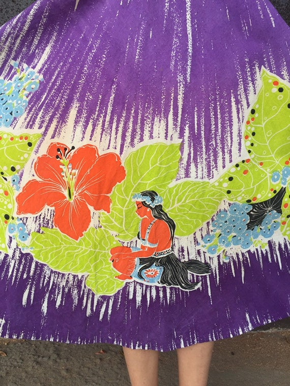 50's Vibrant Hawaiian Print Cotton Skirt - image 3