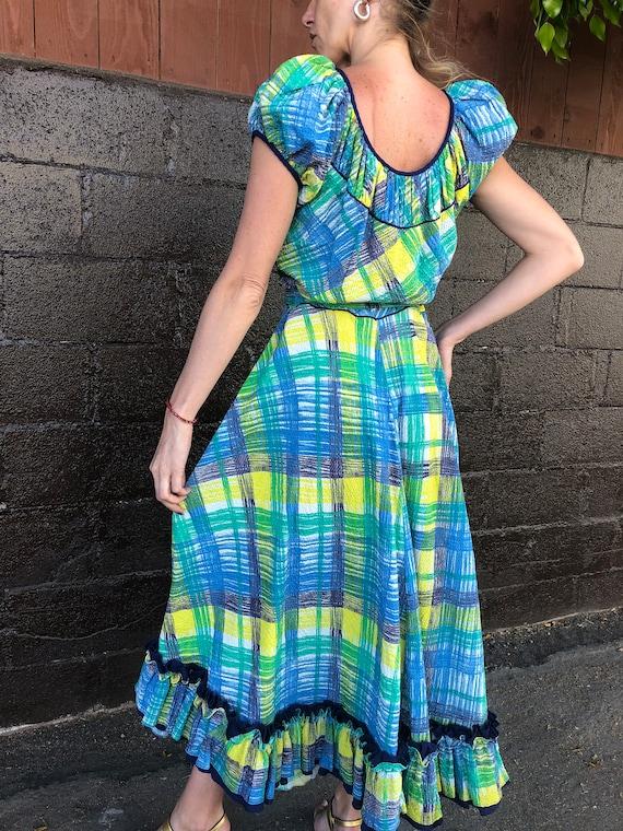 40's Painterly Plaid Seersucker Dress - image 5