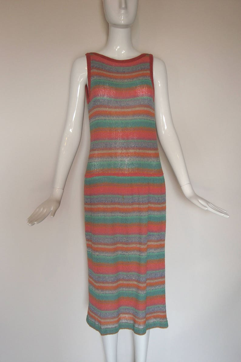 4fdd03768f Vintage MISSONI 70s knit Sweater DRESS candy colored stripes
