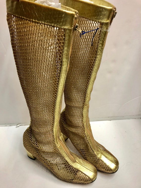 Super Space Age Mod gold mesh 1960s leather metall