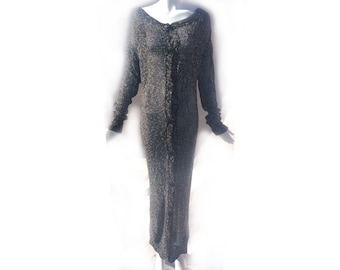 Vintage 90s Vivienne Westwood Anglomania Heather Grey Knit Long Duster Sweater Dress size Small