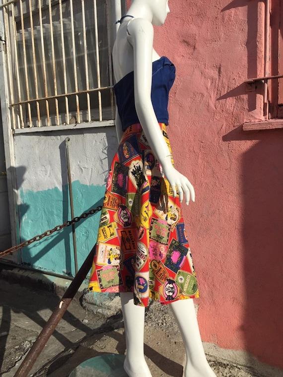 50's Style Liquor Label Novelty Print Skirt - image 4