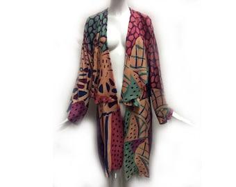 Vintage 80s Silk Art Deco Abstract Polka Dot Pattern Purple Peach and Teal Kimono Robe size Medium by Laise Adzer