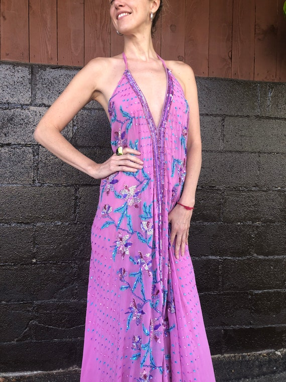 Floral Motif Embellished Bias-Cut Silk Halter Dre… - image 4