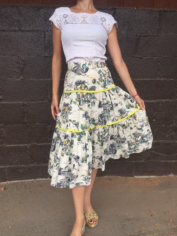 50's Tiered Cotton Village Work Scene Print Skirt