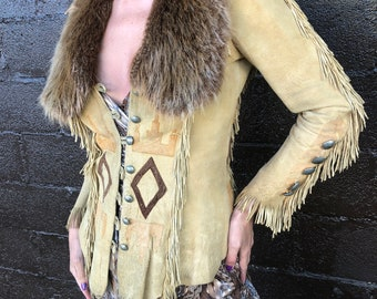 Amazing 70's Burray Olson Buckskin Jacket with Fur Collar