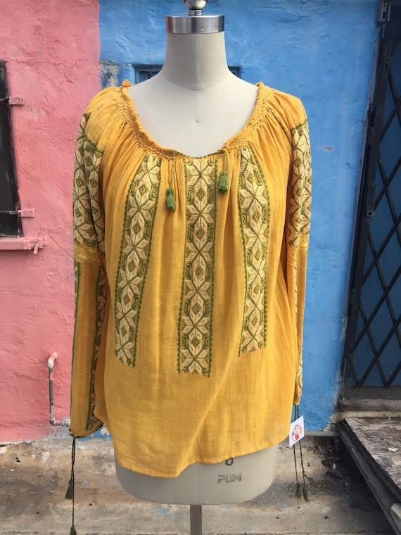 Vintage Romanian Blouse in Mustard and Green