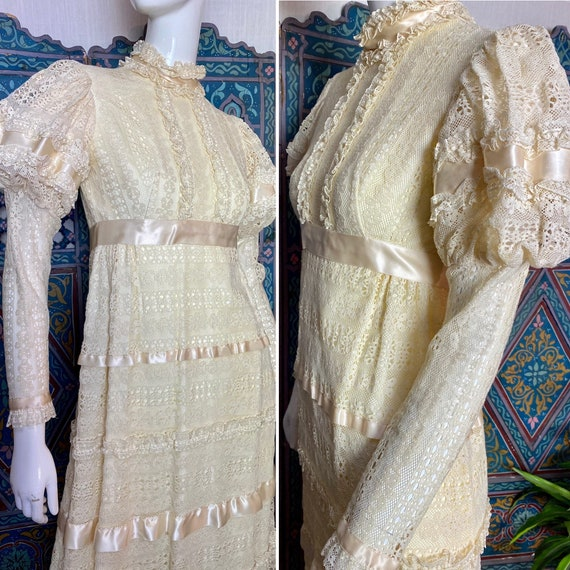 70s does 30s in this stunning lace Gunne Sax -esqu