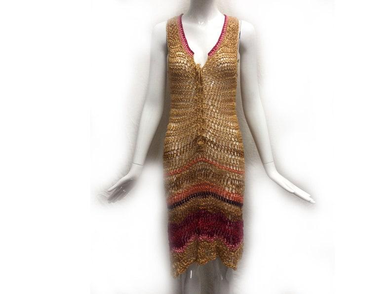 d210df7e Vintage 60s Beige Orange Magenta Sexy Open Weave Knit Sheer | Etsy