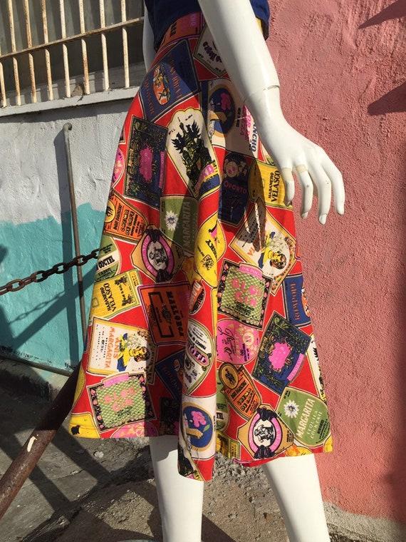 50's Style Liquor Label Novelty Print Skirt - image 7