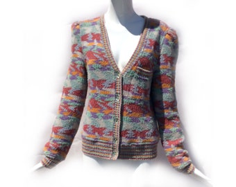 Vintage 70s Missoni for I. Magnin Deep V Neck Puff Sleeve Wool and Silk Cardigan Sweater in Southwest Colors size Medium