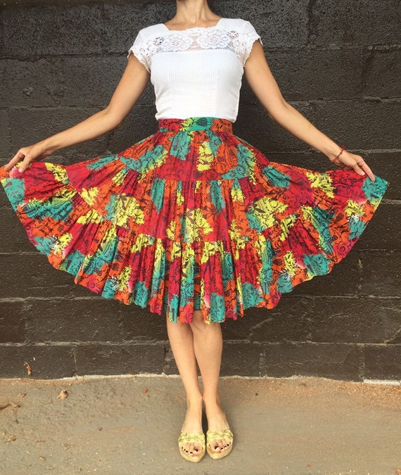 50's Multi-Color Folksy Novelty Print Skirt