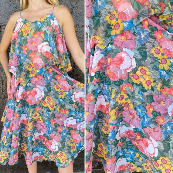 Earthy cotton voile floral layered summer dress
