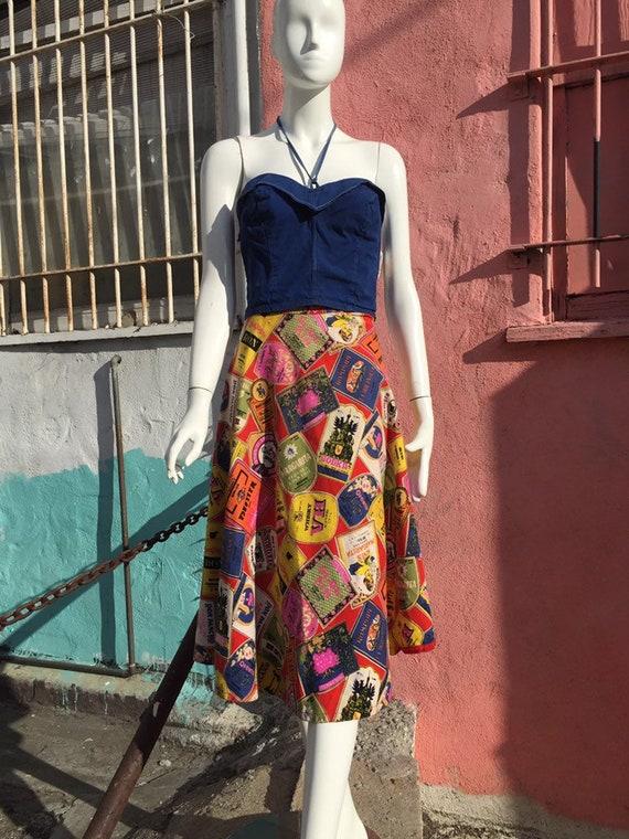 50's Style Liquor Label Novelty Print Skirt - image 1