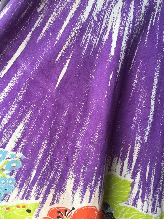 50's Vibrant Hawaiian Print Cotton Skirt - image 10