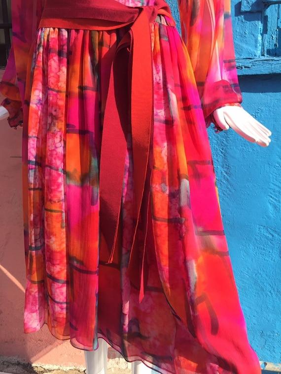 70's Pauline Trigére Vibrant Print Silk Dress - image 5