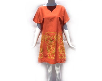 Vintage 60s Orange Cotton Side Slit Mini Dress or Tunic Top with Mexican Tribal Figurine Border Print by Alfred Shaheen size Medium