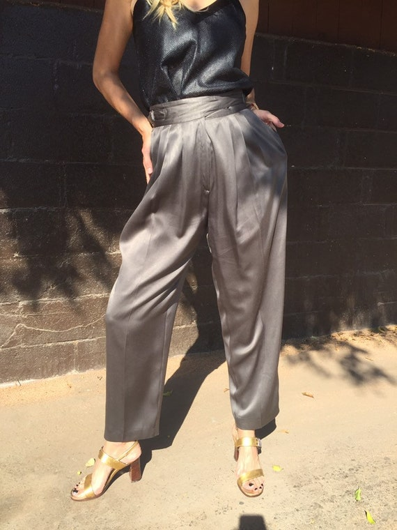 80s Ted Lapidus Silk Satin Trousers with Waist Buc