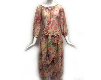 Beautiful Vintage 70s Halston Peach Toned Floral Watercolor Print 3 Piece Skirt Blouse and Scarf Set size 8