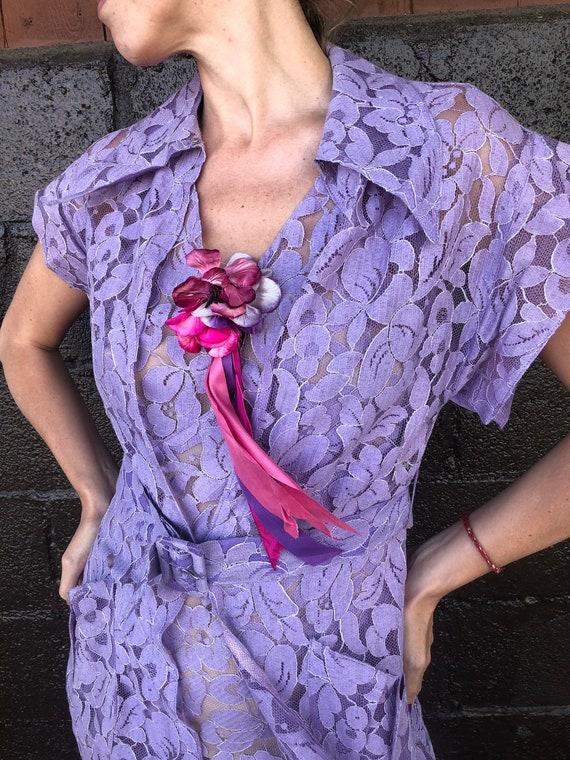 Glamorous 30's Lavender Lace Gown and Jacket Set