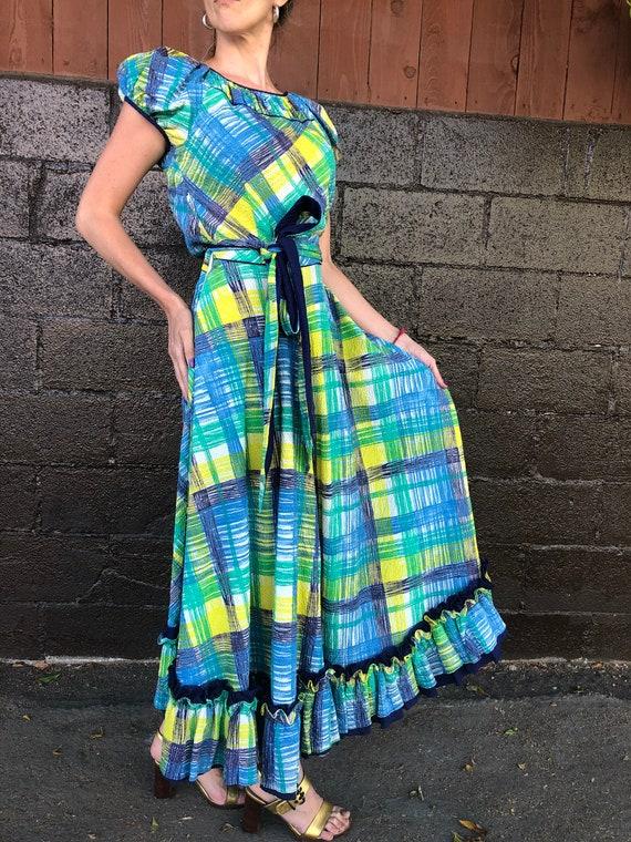 40's Painterly Plaid Seersucker Dress - image 2