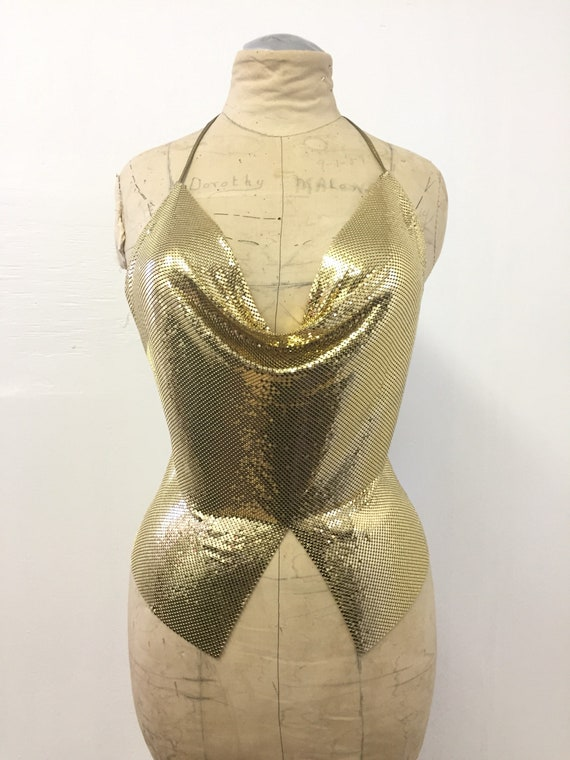 70's Gold Alumesh Disco Halter Top