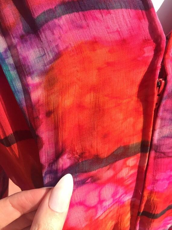 70's Pauline Trigére Vibrant Print Silk Dress - image 10