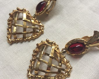 Gold and Ruby Christian Lacroix clip on heart earrings