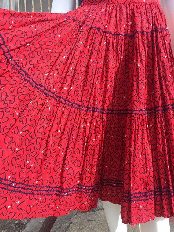 50's Novelty Heart Print Circle Skirt - image 8