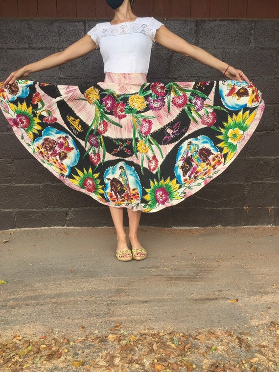 50's Bullfighter Motif Hand-Painted Skirt