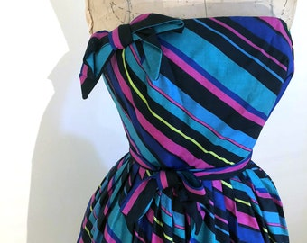 Absolutely Amazing Rappi striped cotton 1950s strapless dress
