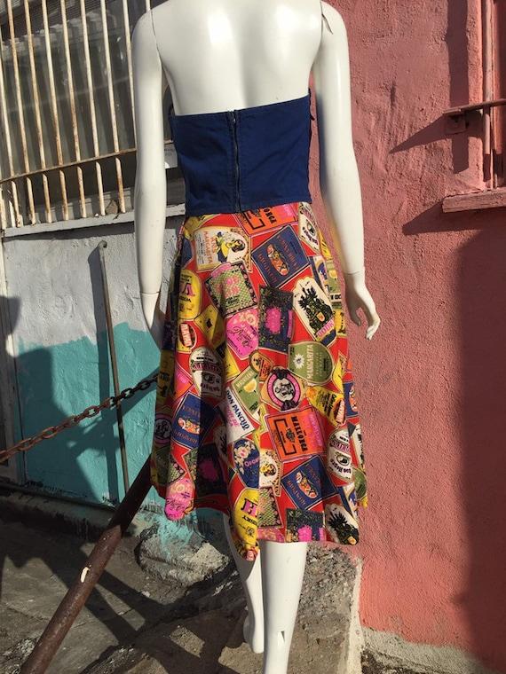 50's Style Liquor Label Novelty Print Skirt - image 3