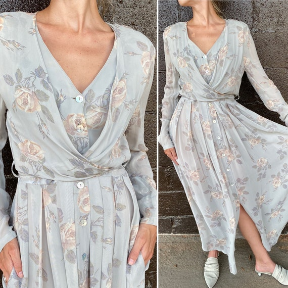 90s sheer button up wrap dress med.
