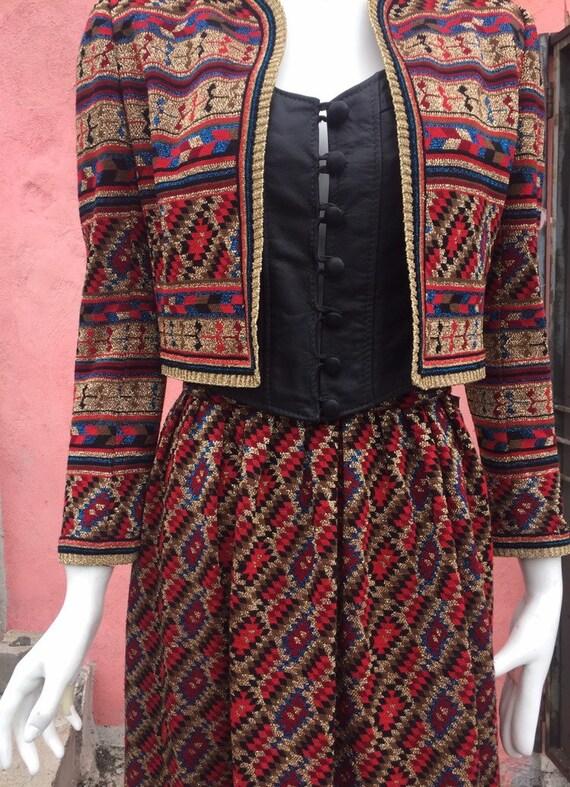 70's Two-Piece Metallic Knit Skirt Set