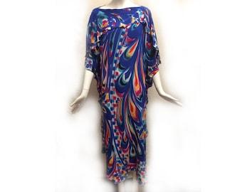Vintage 80s Silk Handpainted Blue Rainbow Palette Abstract Confetti Print Freeform Robe Caftan Dress size Large