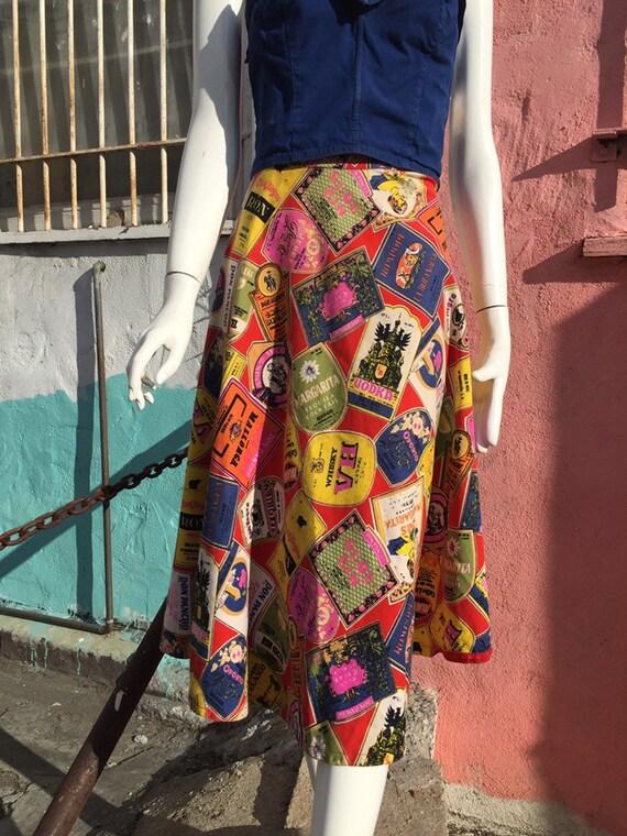 50's Style Liquor Label Novelty Print Skirt - image 2