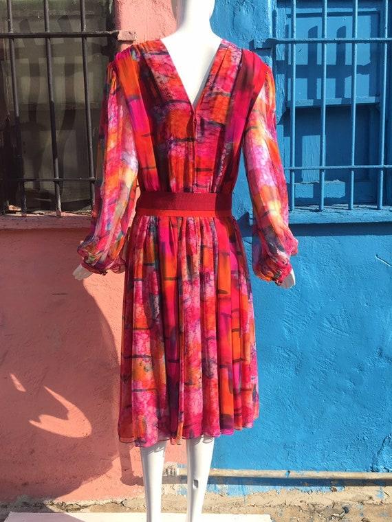 70's Pauline Trigére Vibrant Print Silk Dress - image 3