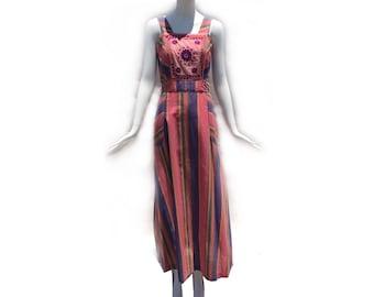 Vintage 60s Bohemian Hippie Pink Striped Indian Cotton Maxi Sundress Embroidered Bodice Tie Waist Dress size Medium