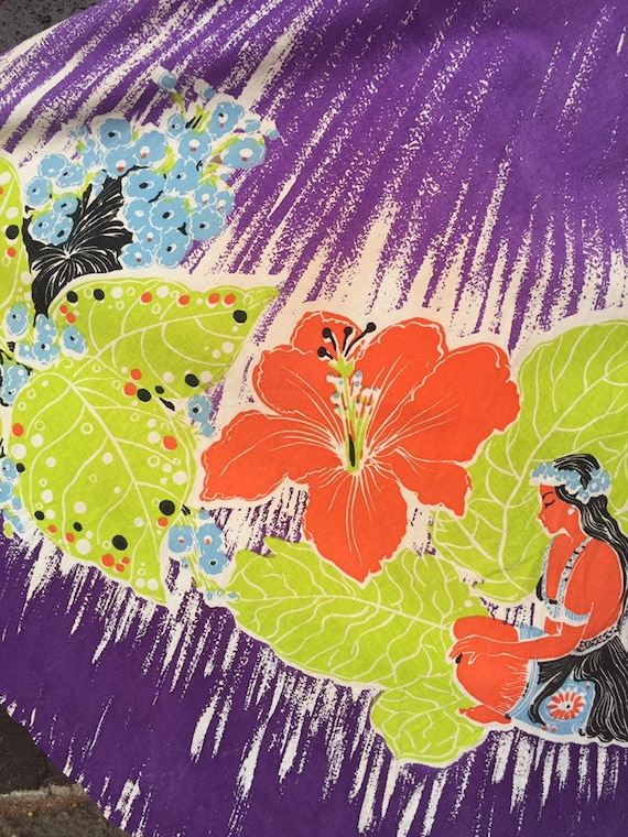 50's Vibrant Hawaiian Print Cotton Skirt - image 8