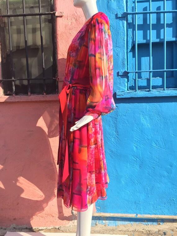 70's Pauline Trigére Vibrant Print Silk Dress - image 4