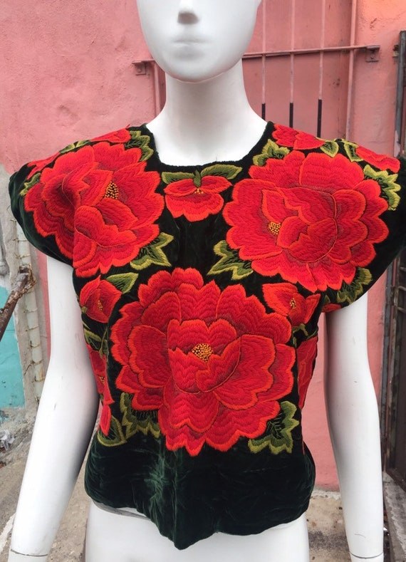 Vintage Velvet Huipil with Vivid Floral Embroidery