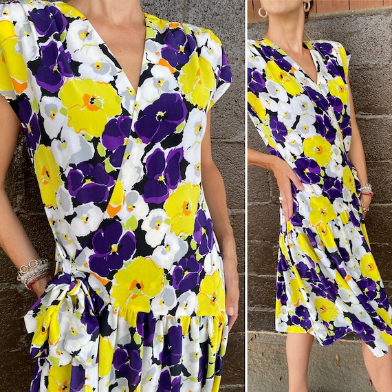 Violet print 90s does 40s wrap style dress