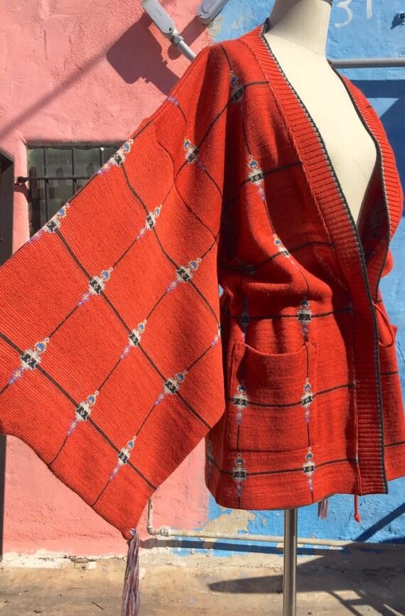 70's Bill Gibb Kimono Sleeve Cardigan Jacket
