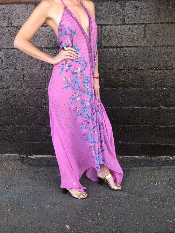 Floral Motif Embellished Bias-Cut Silk Halter Dre… - image 5