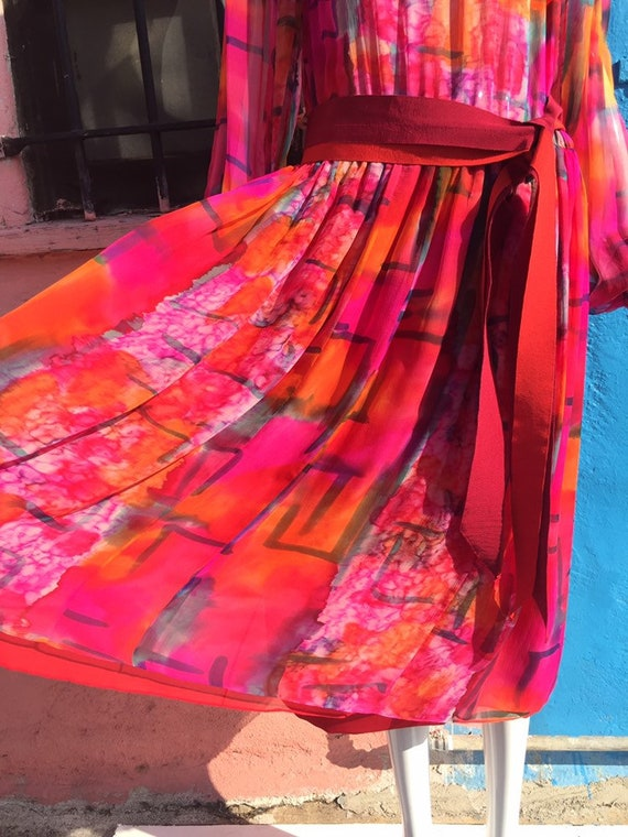 70's Pauline Trigére Vibrant Print Silk Dress - image 2