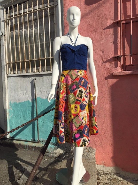 50's Style Liquor Label Novelty Print Skirt - image 5