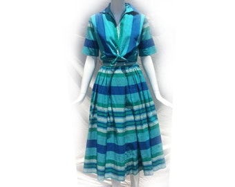 Vintage 50s Green Blue Teal Striped Flirty Cotton Two Piece Set Short Sleeve Tie Waist Top and Full Fit Flare Button Up Skirt by Catalina