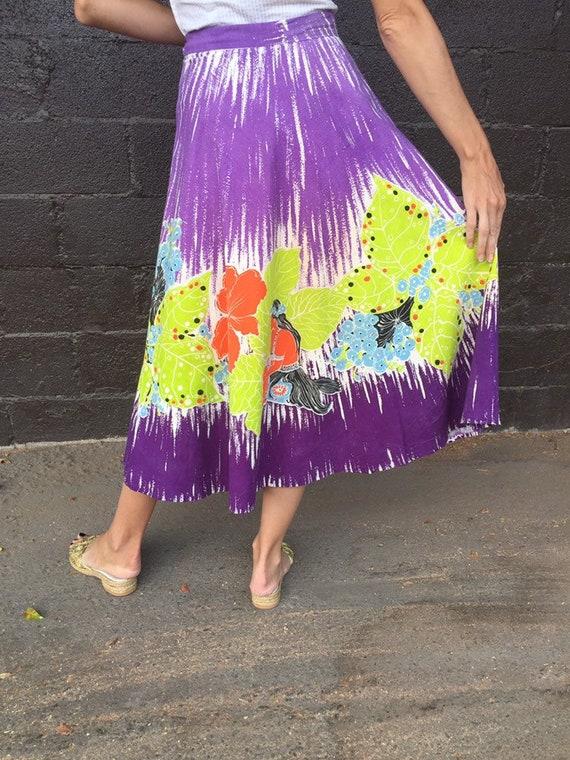 50's Vibrant Hawaiian Print Cotton Skirt - image 5