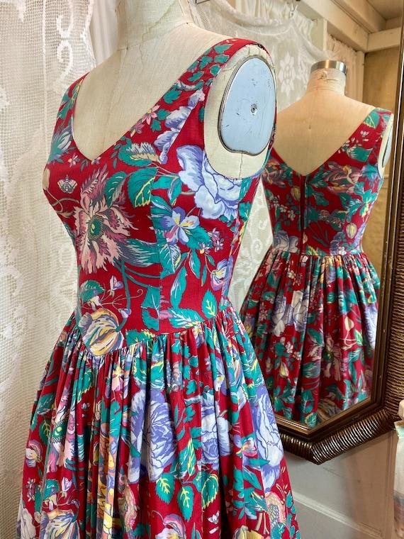 Laura Ashley sleeveless floral cotton dress 80/90s - image 2